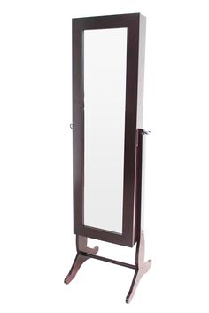 H2O  Jewelry Cabinet Armoire, Free Standing Full length Cheval Mirror, 59-Inch, Walnut