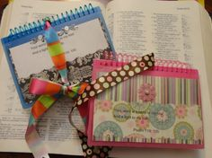 Scripture Books...Spiral bound index cards with a pocket on the front...Fill each page with a Scripture...Great as a special hand-made gift...