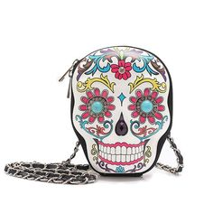 Colorful Sugar Skull Day of the Dead Hard Case Crossbody Clutch