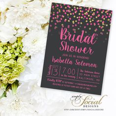 Glitter Glam Confetti Bridal Shower Invitation PRINTABLE Grey Background and Hot Pink