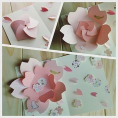 DIY Beautiful Greeting Card with Sequined Heart Diy Origami, Origami Paper, Cherry Blossom Origami, Diy Gift Bags Paper, Diy And Crafts, Paper Crafts, Diy Papier, Diy Art Projects, Flower Template