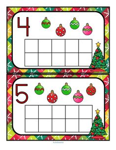 This is a FREE hands-on Christmas tree ten-frames activity that is perfect for a center for pre-k and kindergarten ages. It provides practice in counting, matching one to one, and number recognition from 0-10. Offer lots of different manipulatives such as cotton balls, pom poms, counters, play dough etc. to have the children count and match the set with the number on each card. Print on cardstock and laminate for longest use.