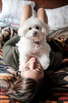 Beautiful woman playing with her dog on the bed by Suprijono Suharjoto for Stocksy United Deer Photography, Photos With Dog, Kairo, Pic Pose, Instagram Pose, Cute Little Animals, Cute Dogs And Puppies, Puppy Pictures, Dog Mom