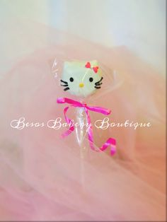 12 adorable Pink bow kitty cake pops by BesosBakeryBoutique on Etsy