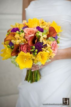 The French Bouquet - Bright Yellow Fringed Tulip Bridal Bouquet Shot by Chris Humphrey Photographer
