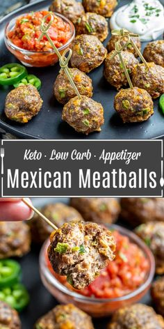 Mexican Keto Meatballs are a low carb appetizer made with ground beef, spices, jalapenos, and cheese. The perfect bite-size appetizer for Cinco de Mayo! Bite Size Appetizers, Low Carb Appetizers, Appetizers For Party, Appetizer Recipes, Dinner Recipes, Mexican Appetizers Easy, Dinner Ideas, Mexican Meatballs, Keto Meatballs