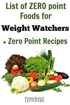 Weight Watchers Zero Point Foods- Use this list as an easy reference for 0 point foods on the Weight Watchers diet plan. You will also find healthy 0 point recipes!