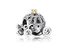 Disney Cinderella pumpkin coach silver charm with 14k and cubic zirconia