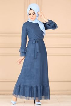 Modaselvim ELBİSE Kemerli Dantel Elbise 4272BS198 İndigo Islamic Fashion, Muslim Fashion, Hijab Dress, Dress Skirt, Abaya Fashion, Fashion Dresses, Simple Gowns, Hijab Fashionista, Beautiful Muslim Women