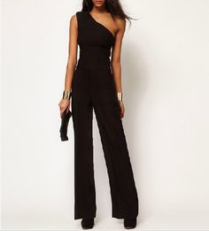 black jumpsuits for women | Black Jumpsuit With One Shoulder @ Womens Short Shorts & Rompers,Women ...