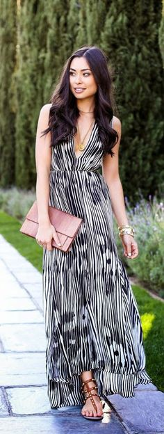 Spring Evenings in LA - Black And White Printed Silk Maxi Dress / With Love From Kat