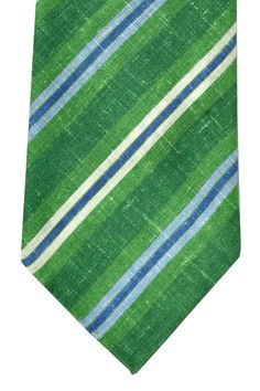 Green navy striped Kiton tie. Linen tie with green, navy blue and white stripes, hand made in Italy.
