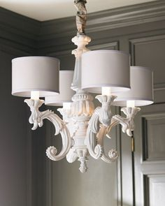 Baroque Chandelier for my living room Wood Chandelier, White Chandelier, Modern Chandelier, Neiman Marcus Home, Baroque, Led, Drum Shade, My Living Room, Light Fixtures