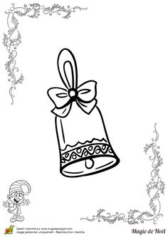 Superbe clochette de noël avec un petit ruban à colorier