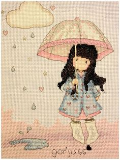 Bothy Threads Puddles of Love Gorjuss Embroidery Counted for sale online Cross Stitch Horse, Small Cross Stitch, Butterfly Cross Stitch, Cross Stitch Cards, Counted Cross Stitch Kits, Cross Stitch Embroidery, Cross Stitch Patterns, Cross Stitching, Bothy Threads