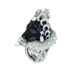 Bague « Reine de Grenatie », platine, or blanc, diamants et grenat.