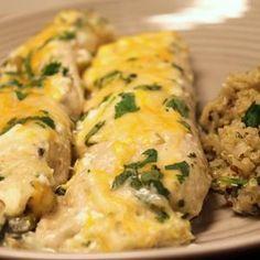 Creamy Chicken Spinach Enchiladas           my daughter Samantha would like this!