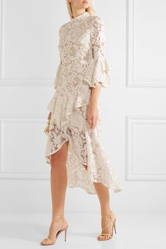 Rebecca Vallance | The Society ruffled guipure lace dress | NET-A-PORTER.COM