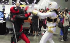 Apparently he has beef with the Power Rangers. | This Guy Who Cosplays As Deadpool Every Year Is Almost As Funny As Ryan...
