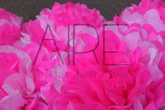 Pompones de papel de seda, paper flowers, party, fiestas, AIRE OBJETOS DECORATIVOS, bs as, Argentina