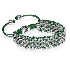 Silver Kismet Links Bracelet   Green