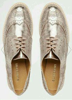 Image 3 of Glamorous Rose Gold Brogue Flat Chunky Sole Flat Shoes Oxford Brogues, Oxfords, Oxford Shoes, Loafers, Shoe Boots, Shoes Heels, Shoe Bag, Womens High Heels, Womens Flats