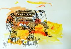 Awesome Elephant Drawing  from www.cloudsofcolour.com