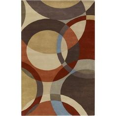 Cc Home Furnishings 4' x 6' Modern Senzei Spheres Sienna Red and Brown Wool Area Throw Rug