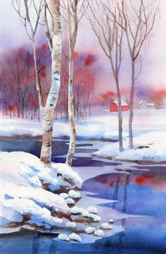 WINTER'S CREEK watercolor landscape painting, painting by artist Barbara Fox Watercolor Pictures, Watercolor Landscape Paintings, Watercolor Trees, Landscape Art, Watercolor Artists, Abstract Paintings, Oil Paintings, Painting Art, Original Paintings