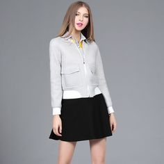 Spring 2017 New European and American High-end Fashion Ladies Grid Cut Women\'s Casual Jacket
