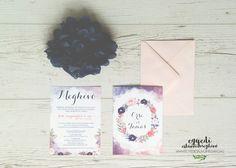 Floral watercolor wedding invitation / Virágos vízfestékes esküvői meghívó Watercolor Wedding Invitations, Floral Watercolor, Watercolor Flowers