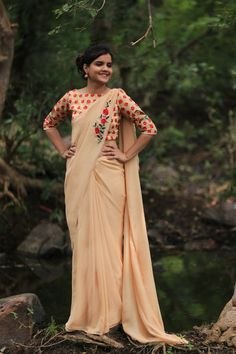 Morning Sunshine Pure Chiffon Rose Vine Saree by EASTANDGRACE