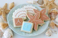 Perfect beach wedding cookies.