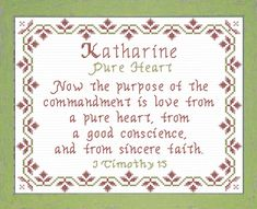 Katharine - Name Blessings Personalized Cross Stitch Design from Joyful Expressions Bible Quotes, Bible Verses, Stitch Delight, Names With Meaning, Words Of Encouragement, Cross Stitch Designs, Joyful, Baby Names, Blessings
