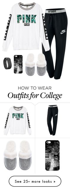 """Lazyness...I'm in a really good mood today"" by skatetofreedom on Polyvore featuring NIKE, Victoria's Secret, Casetify and Fitbit"