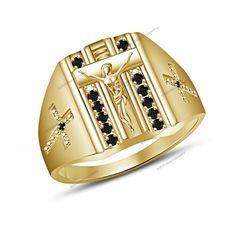 Christmas Collection Fashion Men's Jewelry Cross Jesus Ring in 10K Gold Plated #br925silverczjewelry #JeusuRing #WeddingEngagementAnniversaryBirthdayGift