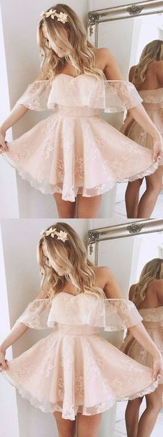 A-Line Off-the-Shoulder Short Pearl Pink Lace Homecoming Dress,Party Dress,013