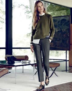 J.Crew sweater: http://www.shopstyle.com/action/loadRetailerProductPage?id=461864135&pid=uid5321-6516611-32, pants: http://www.shopstyle.com/action/loadRetailerProductPage?id=463663163&pid=uid5321-6516611-32, loafers: http://www.shopstyle.com/action/loadRetailerProductPage?id=461864993&pid=uid5321-6516611-32