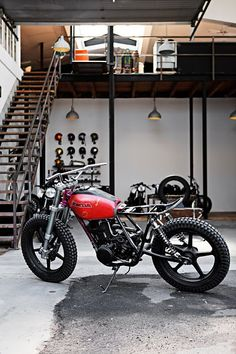Ignore the bike but kind of what I would like to do in our future garage with a small loft on one side.