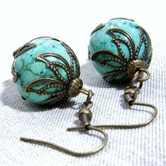 Turquoise Earrings Antiqued Brass Filigree Brass Earrings
