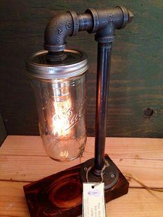 Mason Jar Industrial Lamp With Red Mahogany Base