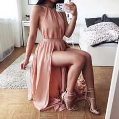 New Sexy Halter Backless Prom Dresses 2016 A-Line Side Slit Party Dress