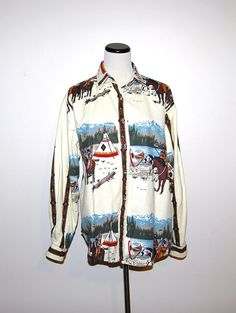 Vintage Western Camp Shirt by CheekyVintageCloset on Etsy, $22.00