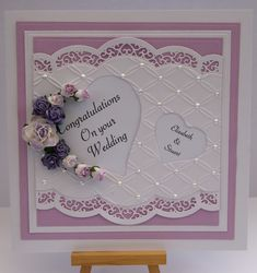671 best images about Cards - Spellbinders Homemade Greeting Cards, Making Greeting Cards, Homemade Cards, Wedding Day Cards, Wedding Anniversary Cards, Pretty Cards, Cute Cards, Spellbinders Cards, Engagement Cards