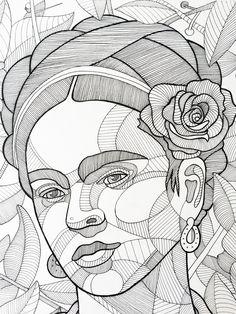 Frida Kahlo, ink on paper, x available for purchase.Shop here… Frida Kahlo, ink on paper, x available for purchase. Cartoon Drawings, Drawing Sketches, Art Drawings, Frida Kahlo Cartoon, Frida Paintings, Blackwork, Frida Art, Sketch Inspiration, Arte Pop
