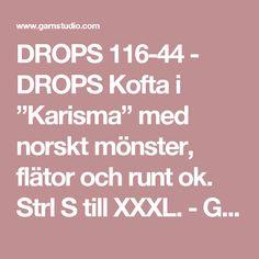 """DROPS 116-44 - DROPS Kofta i """"Karisma"""" med norskt mönster, flätor och runt ok. Strl S till XXXL. - Gratis mönster från DROPS Design"""
