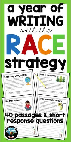 Do you teach writing with the RACE strategy? Now you can practice and assess all year long with these 40 passages, perfect for grades No prep, ready to print and use! Races Writing Strategy, Race Writing, Writing Strategies, Writing Lessons, Writing Resources, Teaching Writing, Writing Activities, Writing Ideas, Teaching Ideas