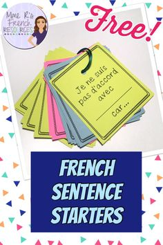 These sentence starters for French group discussions are sure to help your students stay speaking French during class. Put the cards on rings so you can make a handy tool to pass out to groups of students during group discussions. They'll have the handy F French Sentences, French Verbs, French Grammar, French Teaching Resources, Teaching French, Teaching Tips, How To Speak French, Learn French, French Language Learning