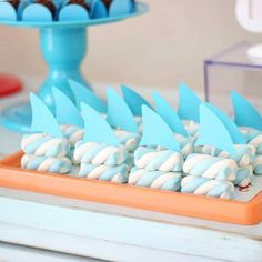 Planning a baby shark party? 2nd Birthday Parties, Baby Birthday, Birthday Ideas, Shark Party Decorations, Mermaid Theme Birthday, Baby Shark, Baby Boy Shower, First Birthdays, Party Time