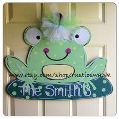 Frog Wooden Door Hanger on Etsy, $40.00